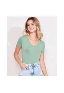 Camiseta Feminina Básica Manga Curta Decote V Verde Água