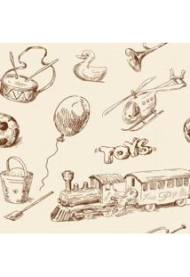 Papel De Parede Quartinhos Adesivo Brinquedos Vintage 2,70X0,57M