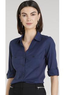 ... Camisa Feminina Com Recorte Canelado Manga Curta Azul Marinho b1682c7ad4ba7