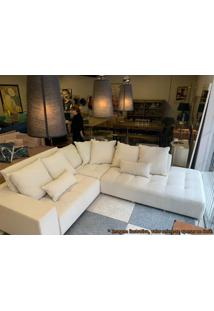 Sofa Barra Bege Claro Base Madeira Natural 2,70 Mt (Larg) - 50792 - Sun House
