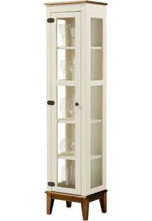 Cristaleira Remy 1 Porta Cor Off White Com Base Amêndoa 180 Cm - 62966 - Sun House