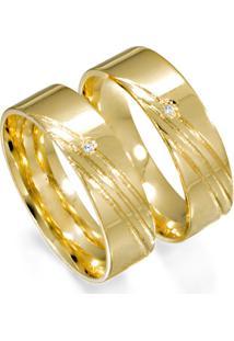 Aliança De Ouro Noivado Lisa Com Diamantes - As0739 + As0546