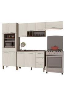 Cozinha Compacta Ametista Com Balcáo 10 Portas Composiçáo 6 Nogal/Arena - Kit'S Paraná