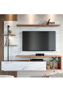 Painel Para Tv Até 58 Polegadas Maragogi 1 Porta Calacatta/Natura Real - Colibri Móveis