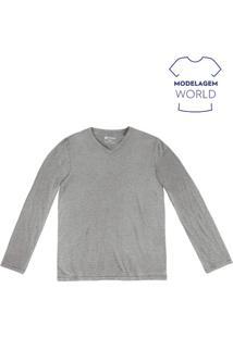 Camiseta Masculina Básica Modelo World Com Manga Longa