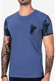 Camiseta Azul Manga Tropical 102163