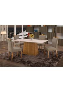 Conjunto De Mesa De Jantar Com 6 Cadeiras E Tampo De Madeira Maciça Turquia Ii Suede Marrom Médio E Off White