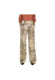 Calça Pantalona Com Estampa Animal Print De Cintura Alta Aha