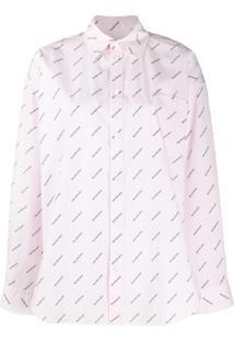 Balenciaga Camisa Masculina Com Estampa De Logo - Rosa