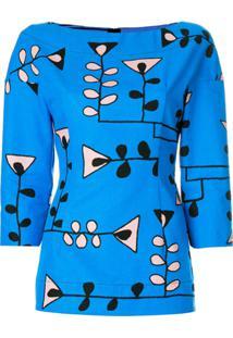 Marni Blusa Com Estampa Floral - Azul