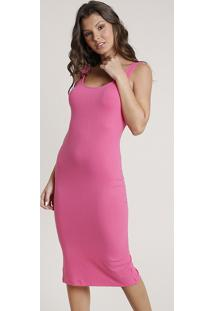 Vestido Feminino Midi Canelado Com Fenda Alça Larga Pink