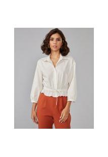Amaro Feminino Camisa Cropped Algodão Com Elástico, Off-White