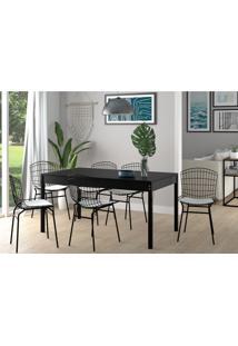 Conjunto De Mesa De Cozinha Trama Com 6 Cadeiras Preto