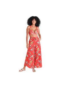 Calça Pareô Flora - Vermelho - Líquido
