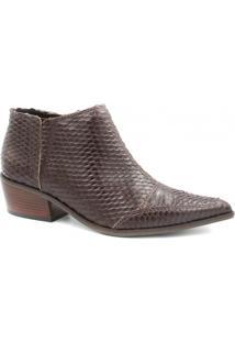 Bota Zariff Shoes Ankle Boot Couro Feminino - Feminino-Marrom