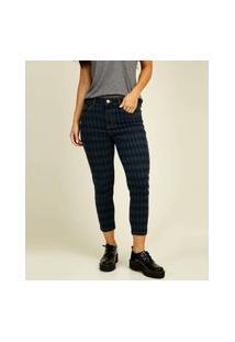 Calça Jeans Capri Feminina Estampa Geométrica