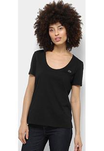 Camiseta Lacoste Básica Feminina - Feminino-Preto