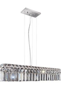 Pendente Retangular Para 4 Lâmpadas Paris 12X60Cm Espelhado
