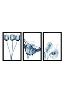Quadro Oppen House 60X120Cm Flores Abstrato Transparentes Moldura Preta Estilo Raio X Decorativo Interiores Mod:Oh010