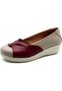 Sapato Doctor Shoes Anabela 194 Em Couro Bege/Vinho