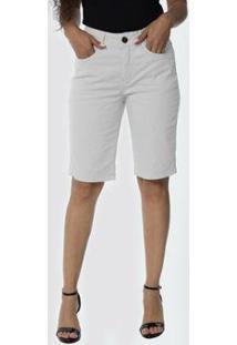 Bermuda Jeans Osmoze Middle Plus Z 23886 2 Branco - Branco - 48 - Feminino-Branco