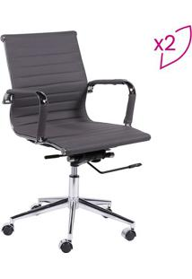 Jogo De Cadeiras Office Eames Esteirinha- Cinza & Prateaor Design