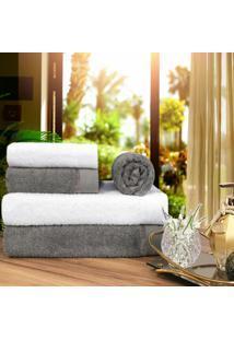 Toalha De Banho 100% Algodão Penteado Jogo Com 2 Banhão 2 Rosto E 1 Piso Branca E Grafite