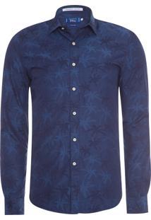 Camisa Masculina Traveller Paris Jacquard - Azul Marinho