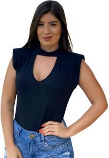 Blusa Muscle Tee Decote V Preta - Preto - Feminino - Dafiti