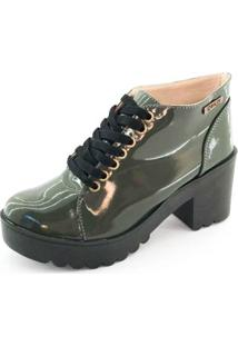 Bota Quality Shoes Tratorada Verniz Feminina - Feminino-Verde+Preto