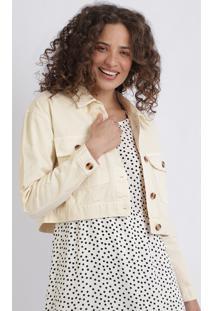Jaqueta De Sarja Feminina Cropped Com Bolsos Off White