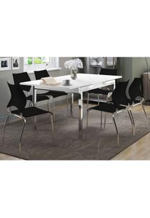 Mesa Extensível 1541 Branca Cromada Com 6 Cadeiras 357 Preto Carraro