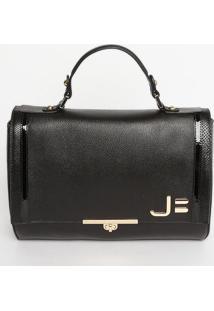 Bolsa Em Couro Com Tag - Preta & Dourada - 20X31X6Cmjorge Bischoff