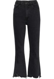 3X1 Calça Jeans Flare Com Barra Desfiada - Preto