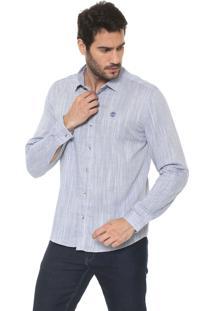 Camisa Timberland Reta Fesh Dark Sapphire Azul/Off-White