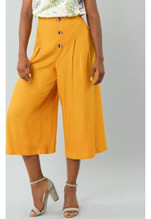 Calça Pantacourt Amarelo