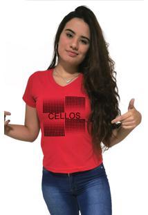 Camiseta Feminina Gola V Cellos Degradê Premium Vermelho - Kanui
