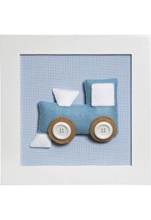 Quadro Decorativo Trem Quarto Bebê Infantil Menino Potinho De Mel Azul