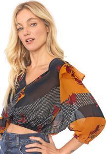 Blusa Cropped Maria Filó Floral Vigo Amarela