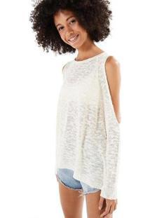 Blusa Farm Sweater Flamê Ombro Vazado - Feminino-Off White