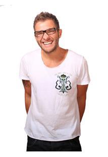 Camiseta Estonada Corte À Fio Joss Cocar Branco