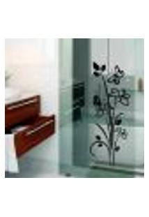 Adesivo Decorativo Para Box De Banheiro Floral Modelo 5 - Medio