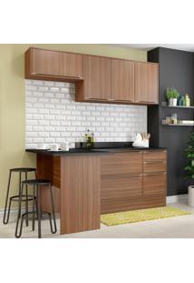 Cozinha Compacta 6 Portas Com Tampo E Rodapé 5460R Nogueira/Malt - Multimóveis