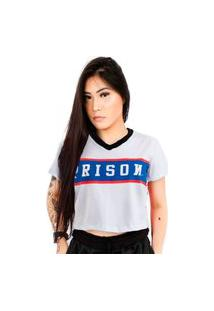 Camiseta Cropped Prison Feminina Stripe Usa