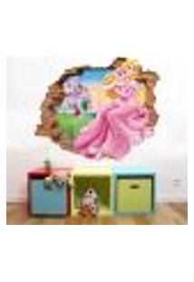 Adesivo De Parede Buraco Falso 3D Princesa Aurora 05 - P 45X55Cm
