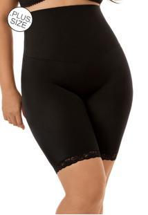 Cinta Modeladora Com Cós Duplo E Perna Plus- Size Mondress Preto - Tricae