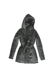 Casaco Trench Coat Impermeável Com Cinto Preto