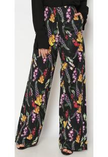 Calça Pantalona Floral - Preta & Amareladudalina