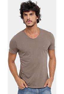 Camiseta Ellus Gola V Stone Masculina - Masculino