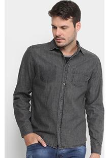 Camisa Jeans Gangster Bolso Masculina - Masculino